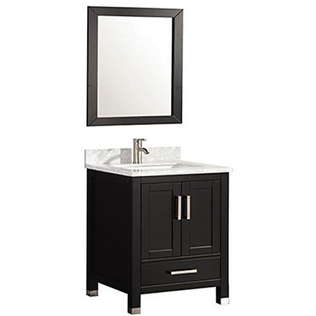 "Ricca 24"" Espresso Single-Sink Bathroom Vanity and Mirror"