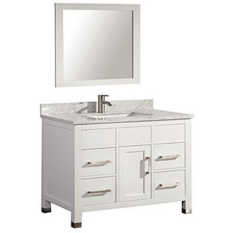 "Ricca 36"" White Single-Sink Bathroom Vanity and Mirror"