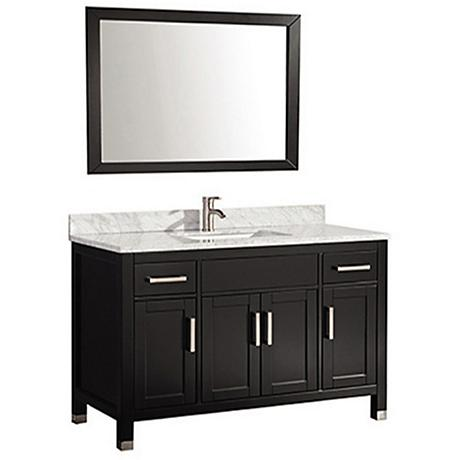 "Ricca 48"" Espresso Single-Sink Bathroom Vanity and Mirror"