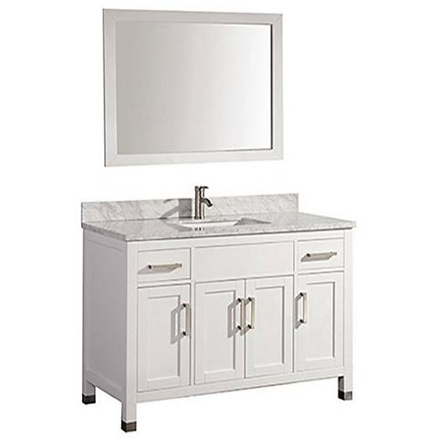"Ricca 48"" White Single-Sink Bathroom Vanity and Mirror"