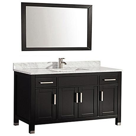"Ricca 60"" Espresso Single-Sink Bathroom Vanity and Mirror"