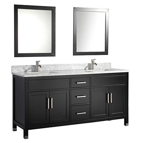 "Ricca 72"" Espresso Double-Sink Bathroom Vanity and Mirror"