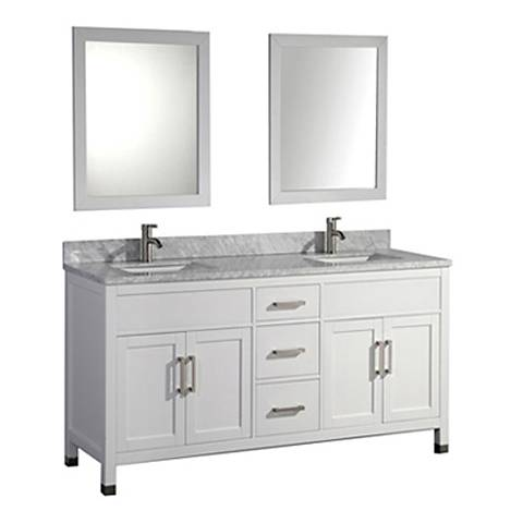 "Ricca 72"" White Double-Sink Bathroom Vanity and Mirror"