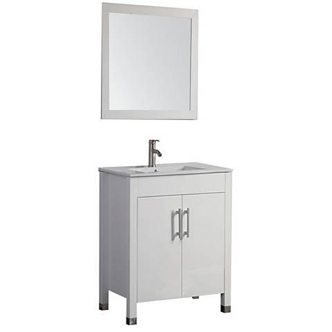 "Monaco 24"" White 2-Door Bathroom Vanity and Mirror Set"