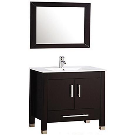 """Monaco 36"""" Espresso 2-Door Bathroom Vanity and Mirror Set"""