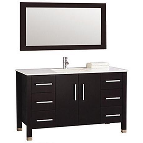 """Monaco 48"""" Espresso 6-Drawer Bathroom Vanity and Mirror"""