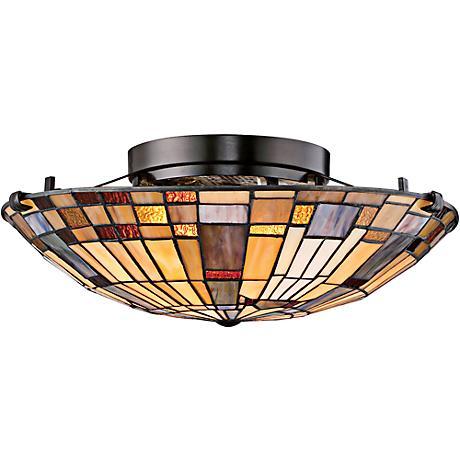 "Quoizel Inglenook 16 1/2"" Wide Valiant Bronze Ceiling Light"