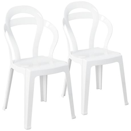 Elka Glossy White Indoor-Outdoor Chair Set of 2
