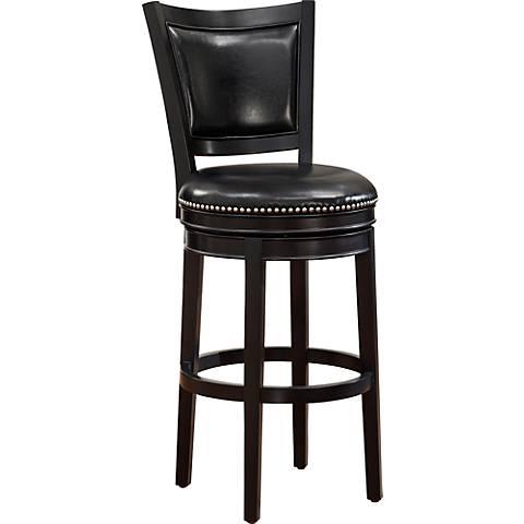 "Shae 30"" Gloss Black Bonded Leather Black Wood Barstool"