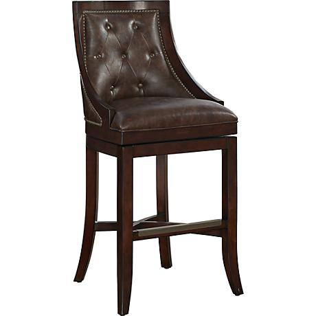 "Valencia 27"" Whiskey Bonded Leather Wood Counter Stool"