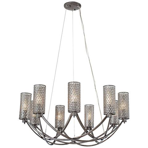 "Varaluz Casablanca 32"" Wide Hand-Applied Steel Chandelier"