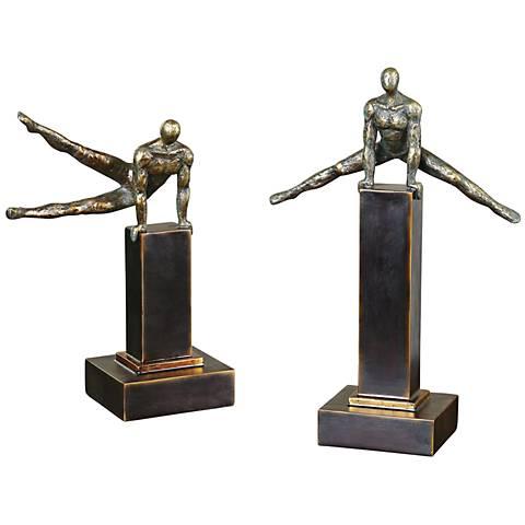 """Uttermost Pommel 2-Piece 16"""" High Athlete Statue Set"""