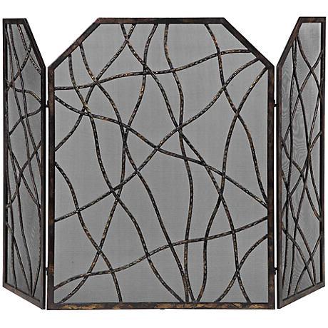 Uttermost Dorigrass Mocha Brown Fireplace Screen