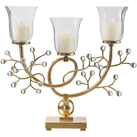 Uttermost Bede Metallic Gold Leaf Votive Candelabra