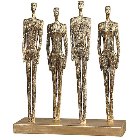 "Uttermost Ten-Hut 14 3/4"" High Gold Leaf Metal Statue"