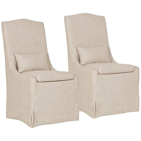 Colette Bisque French Linen Slipcover Dining Chair Set of 2