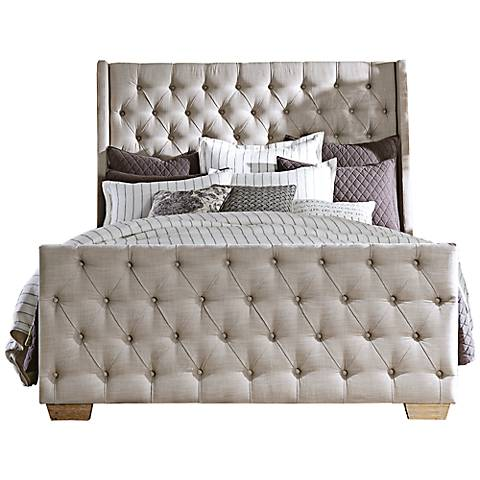 Laurent Tufted Beige Linen Complete Queen Bed
