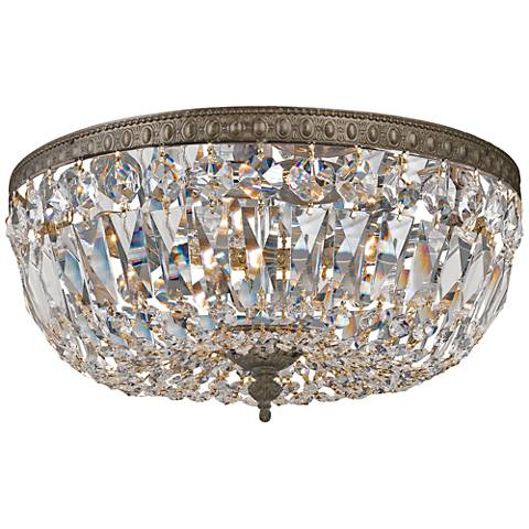 "Crystorama Big Basket Crystal 12""W Bronze Ceiling Light"