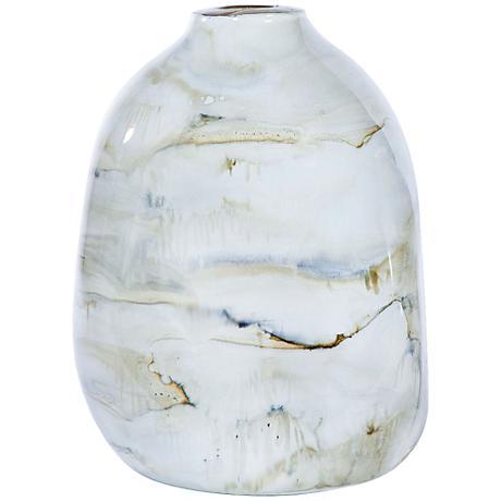 "Smoke 13"" High Hand-Blown Glass Urn Vase"