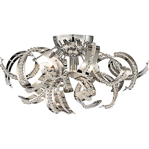"""Quoizel Ribbons 18 1/2"""" Wide Crystal Chrome Ceiling Light"""