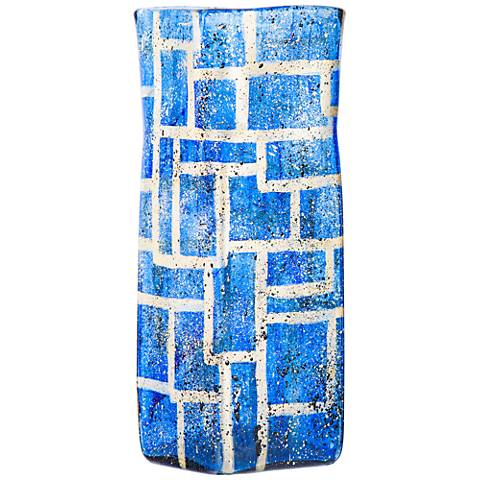 "Sapphire Boxes 19"" High Hand-Blown Square Glass Vase"