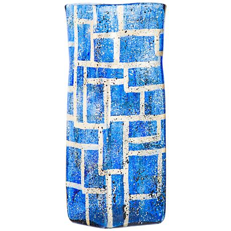 """Sapphire Boxes 19"""" High Hand-Blown Square Glass Vase"""