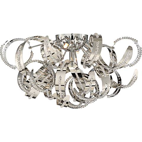 """Quoizel Ribbons 22"""" Wide Crystal Chrome Ceiling Light"""