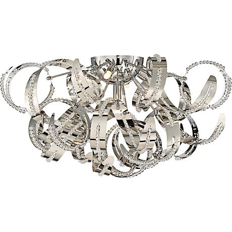 "Quoizel Ribbons 22"" Wide Crystal Chrome Ceiling Light"