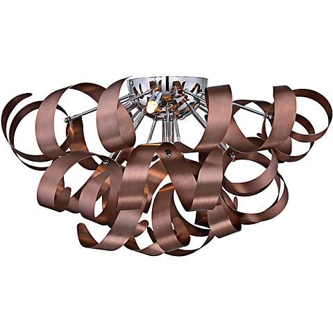 """Quoizel Ribbons 22"""" Wide Satin Copper Ceiling Light"""