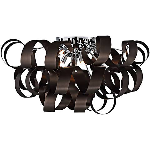 """Quoizel Ribbons 27 1/2"""" Wide Western Bronze Ceiling Light"""