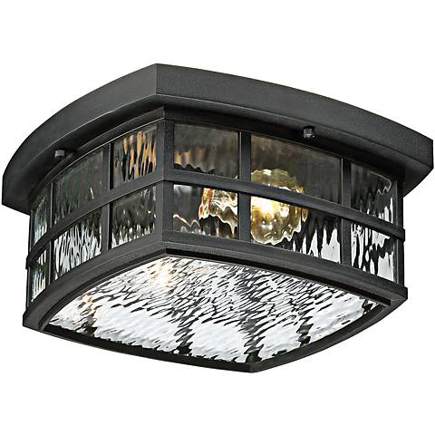 "Stonington 12"" Wide Mystic Black Outdoor Ceiling Light"