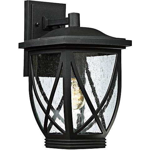 "Quoizel Tudor 15"" High Mystic Black Outdoor Wall Light"