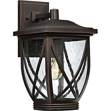 "Quoizel Tudor 15"" High Palladian Bronze Outdoor Wall Light"