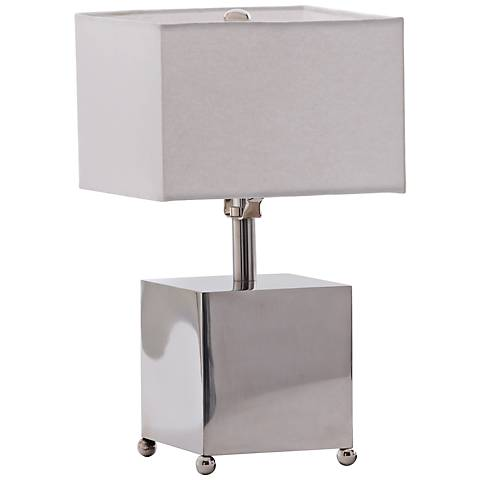 """Scatola 13""""H Polished Nickel Metal Accent Table Lamp"""