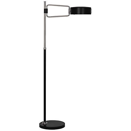 Robert Abbey Simon Satin Black Polished Nickel Floor Lamp