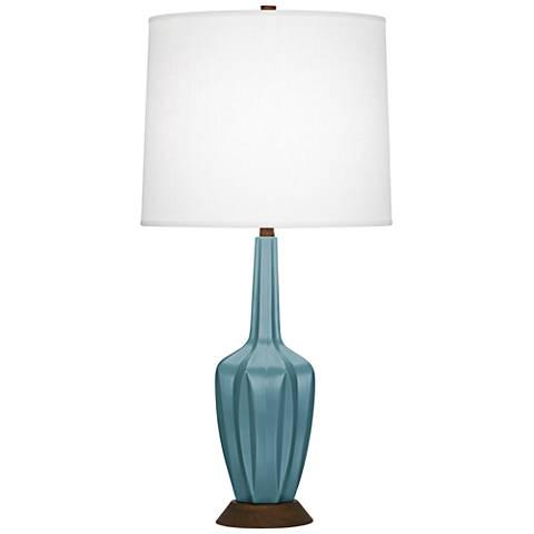 Robert Abbey Cecilia Small Steel Blue Ceramic Table Lamp