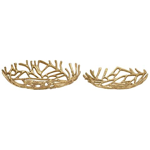 2-Piece Gold Natura Decorative Bowl Set