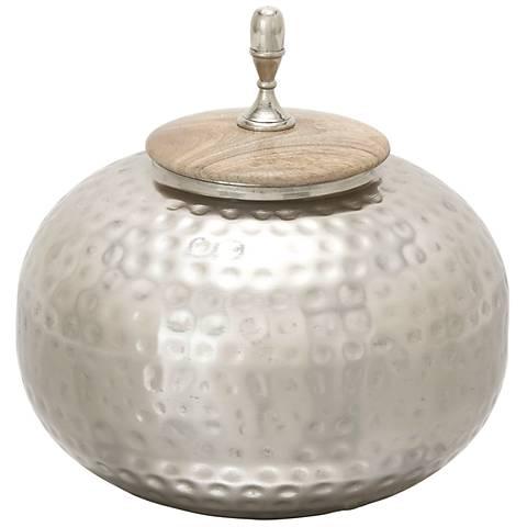 Castiel Aluminum and Wood Large Decorative Jar