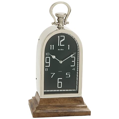 """Clifton Stainless Steel Wood 16"""" High Table Clock"""