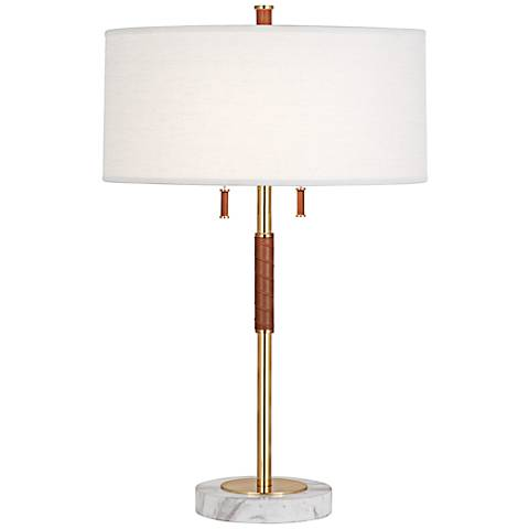Jonathan Adler Geneva Camel Leather Brass Table Lamp