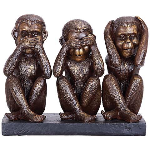 """Speak No See No Hear No 9"""" High Brown 3-Monkey Figurine"""