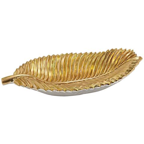 "Golden Glow 24"" Wide Ribbed Leaf Decorative Bowl"