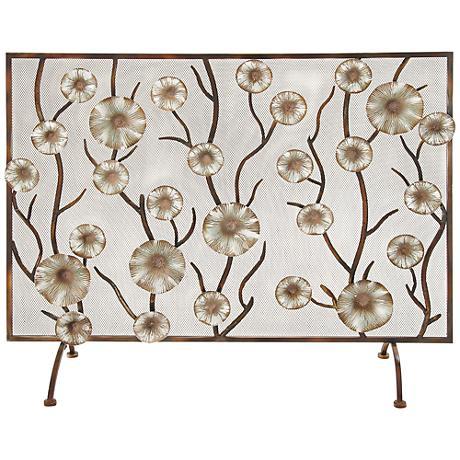 """Golden Blossoms 36"""" High Aged Brass Fireplace Screen"""