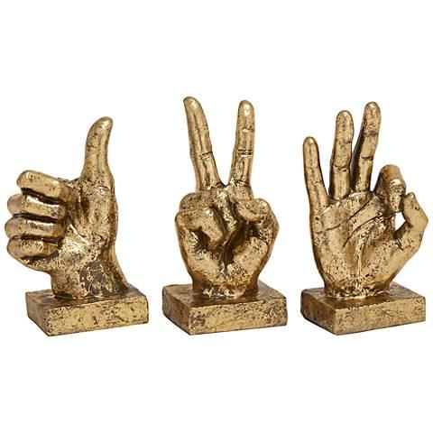 """Triple Digits 7"""" High Gestural Hand Sculpture 3-Piece Set"""