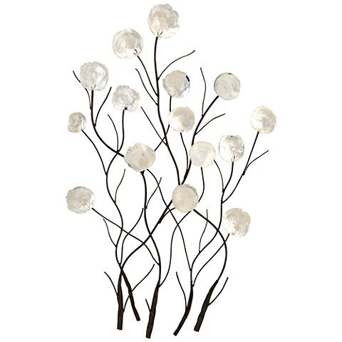 "White Floral Capiz 36"" High Metal Wall Art"
