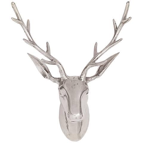 """Reindeer Head 23"""" High Silver Aluminum Wall Art"""