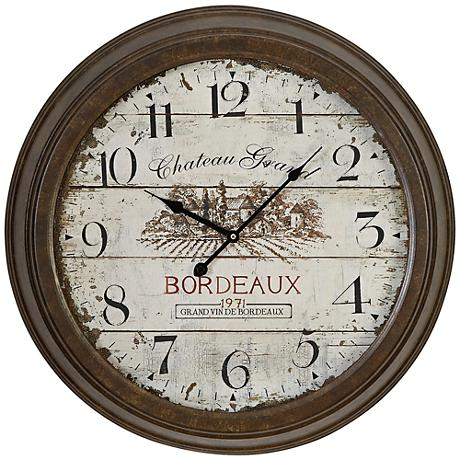 """Chateau Grand 23"""" Round Metal Wall Clock"""