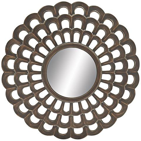 "Coteau Dark Antiqued Copper 26"" Round Wall Mirror"