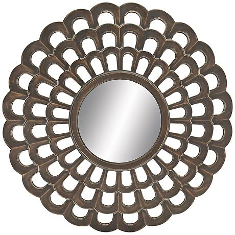 "Coteau Dark Antiqued Copper 26"" Round Wall Mirror"