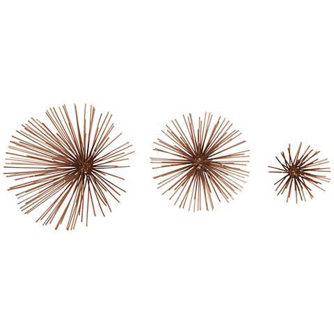 Wire Spray 3-Piece Bronze Metal Wall Art